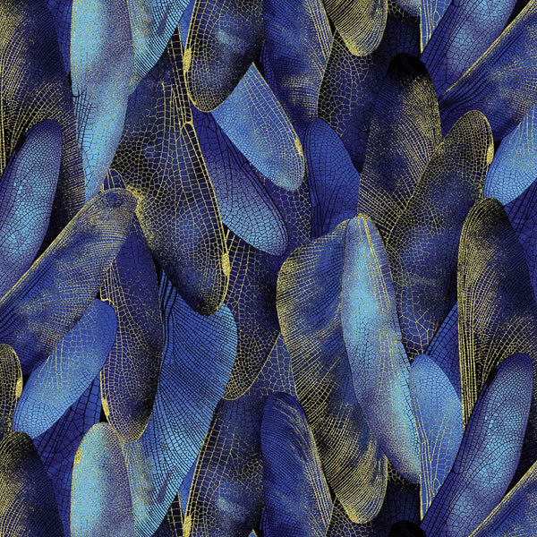Dance Of The Dragonfly: Gilded Wings Navy by Benartex