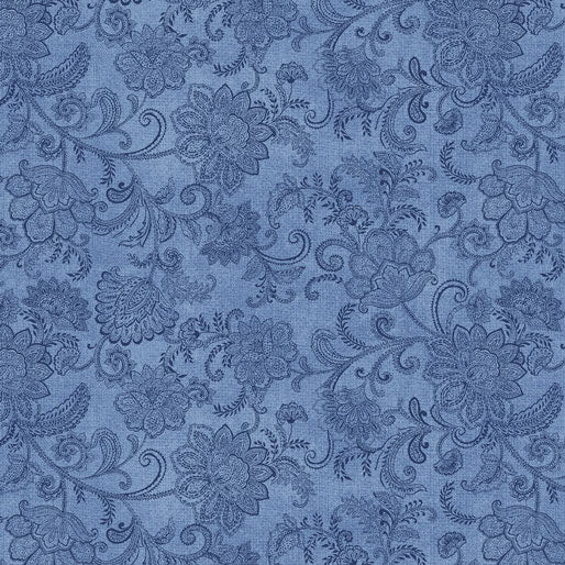 NEW: Accent on Sunflowers: Livingston Medium Blue by Jackie Robinson for Benartex