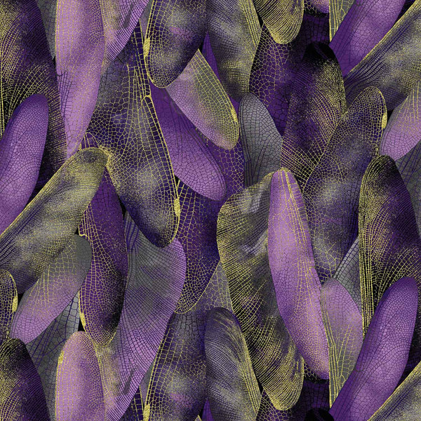 Dance Of The Dragonfly: Gilded Wings Deep Purple by Benartex