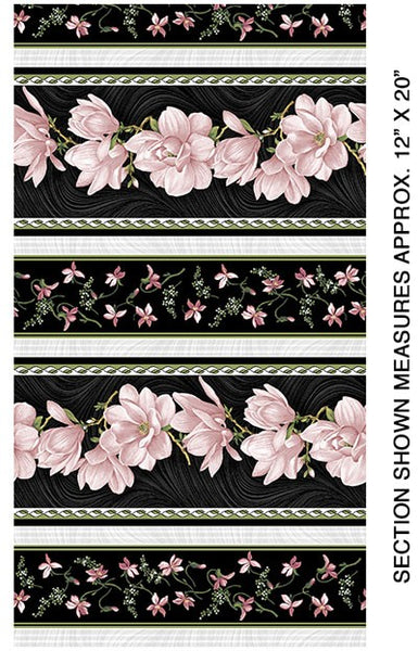 Accent on Magnolias: Magnolia Blooms Stripe Coral by Jackie Robinson for Benartex
