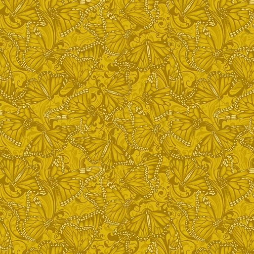 NEW: Accent on Sunflowers: Butterfly Fields Gold by Jackie Robinson for Benartex