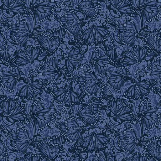 NEW: Accent on Sunflowers: Butterfly Fields Indigo by Jackie Robinson for Benartex