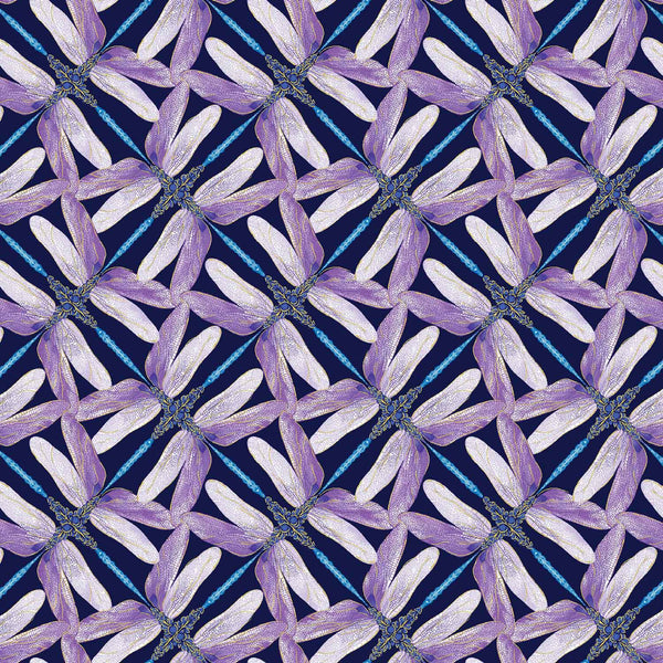 Dance Of The Dragonfly: Pinwheel Geo Navy/Violet by Benartex