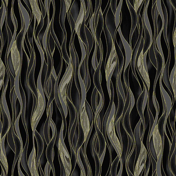 Dance Of The Dragonfly: Dancing Waves Black/Gold by Benartex