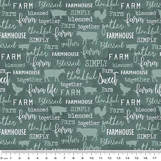 Farm Sweet Farm: Chalkboard Teal by Benartex