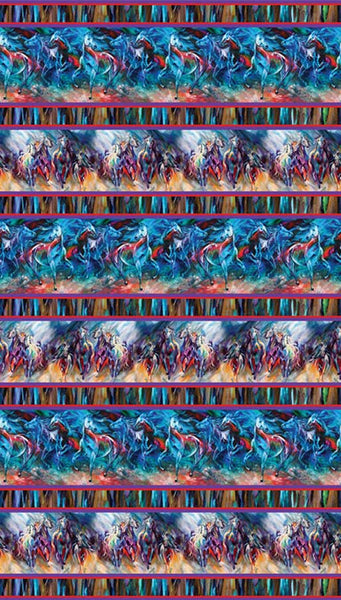Painted Horses Stripe by Benartex