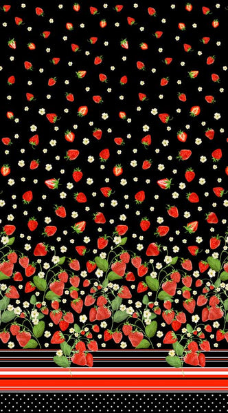 Strawberry Fields Forever: Strawberry Fields Single Border Black by Benartex