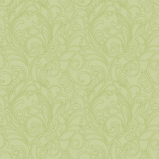 NEW Accent on Magnolias: Classic Scrolls & Blenders: Meadow Scroll Light Lime by Jackie Robinson for Benartex