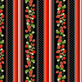 NEW: Strawberry Fields Forever: Strawberry Stripe Black by Benartex