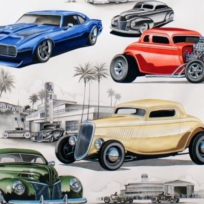 "Vintage cars ""Chopped & Channeled' by Alexander Henry"