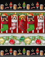 Fireside Pups Christmas Puppy Stripe by Henry Glass