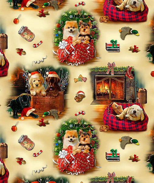 Fireside Pups Christmas Puppy Scene by Henry Glass