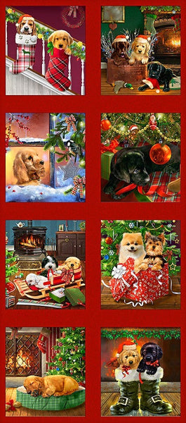 Fireside Pups Christmas Puppy Panel by Henry Glass