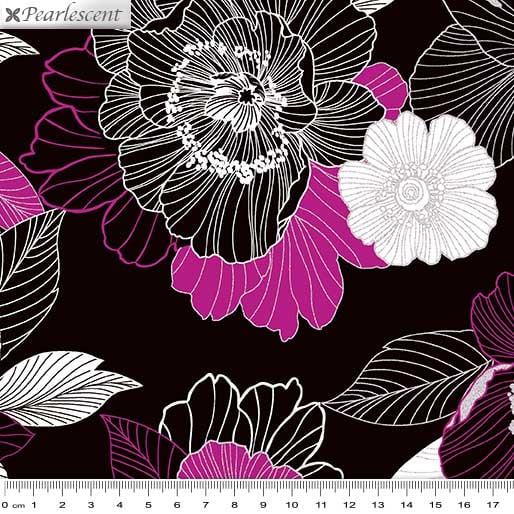 Midnight Pearl: Midnight Blooms Black/Berry by Benartex