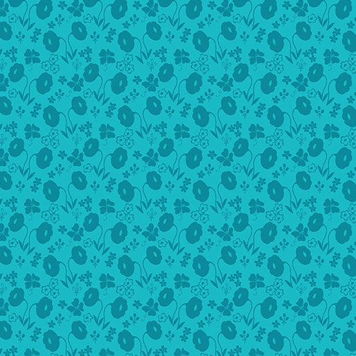 SALE Sew Excited--Floral Fun--Turquoise by Benartex