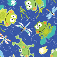 Toadily Cute: Cute Hop Along Frogs - Blue by Kanvas Studio for Benartex
