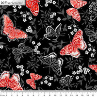 Poppy Promenade: Poppy Promenade Butterfly - Black by Benartex