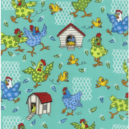 NEW: Farm Fun - Chickens by Nutex - 100% Cotton