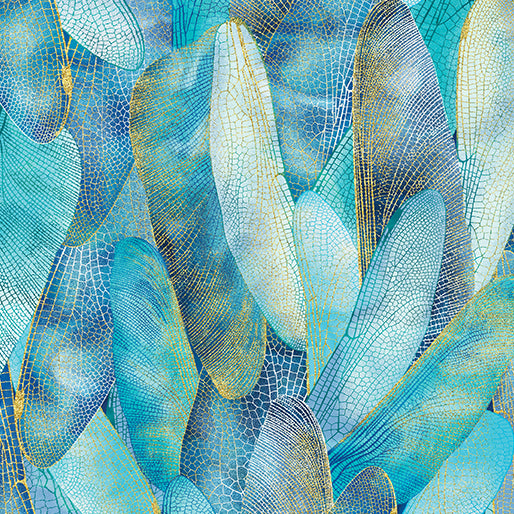 Dance Of The Dragonfly: Gilded Wings Aquamarine by Benartex