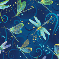 Dance Of The Dragonfly: Dancing Dragonflies Midnight Blue by Benartex