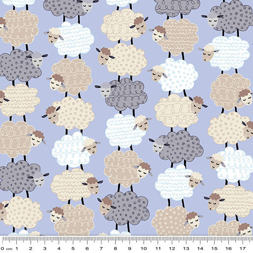 Sweet Dreams: Sweet Stacked Sheep Perwinkle by Benartex