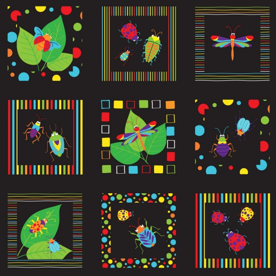 Bugs & Critters Squares  by Nutex - 100% Cotton