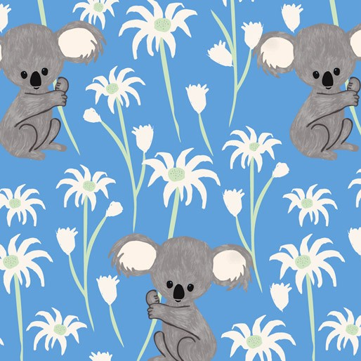 Koala Capers: Sweet Koala Blue by Amanda Brandl for KK Designs