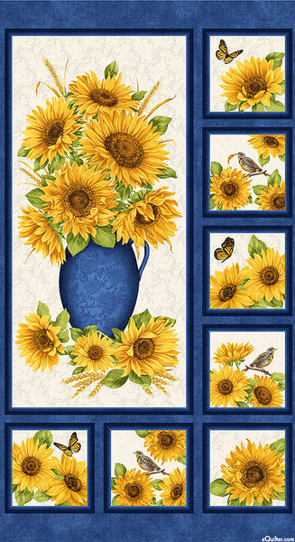 NEW: Accent on Sunflowers: Accent on Sunflower Panel by Jackie Robinson for Benartex