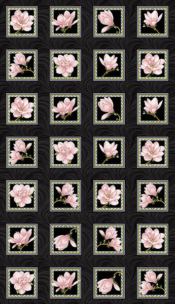 Accent on Magnolias: Magnolia Blooms Blocks Panel Coral by Jackie Robinson for Benartex