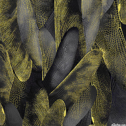 Dance Of The Dragonfly: Gilded Wings Black/Gold by Benartex