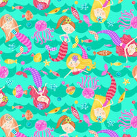Mermaids Rock: Mermaid Toss Aqua by  Studio E