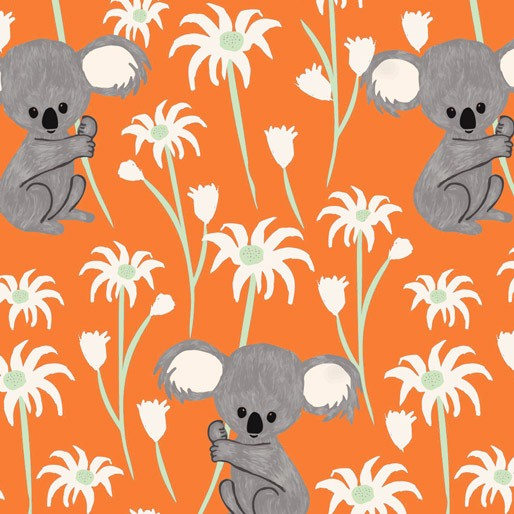 Koala Capers: Sweet Koala Orange by Amanda Brandl for KK Designs