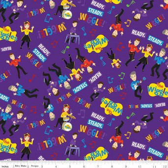Ready, Steady, Wiggle! Wiggles All Over Purple by Riley Blake