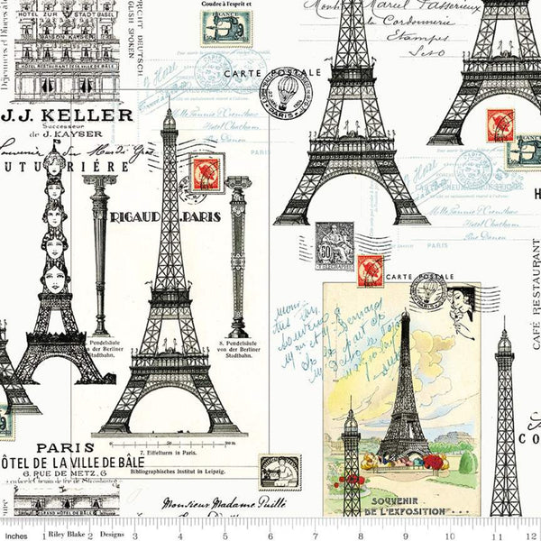 Couturiere Parisienne Eiffel Tower Cream by Riley Blake
