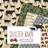 Quilt Barn Prints: Large Farm Animals Red by Benartex