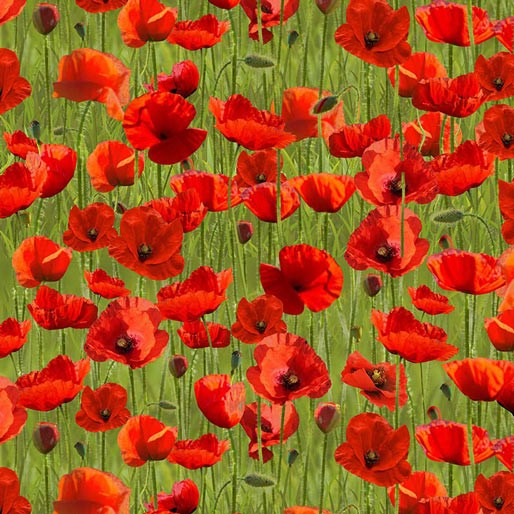 Remembering Anzac: Poppies on Green Allover by KK Designs