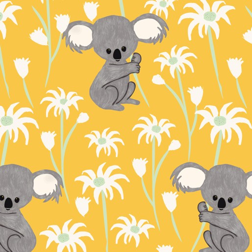 Koala Capers: Sweet Koala Yellow by Amanda Brandl for KK Designs