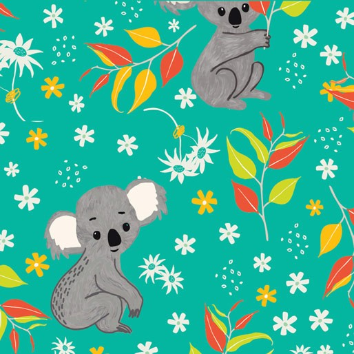 Koala Capers: Koala Calypso Turquoise  by Amanda Brandl for KK Designs