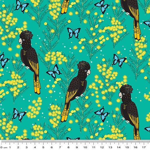 NEW Outback Beauty: Yellow Black Tailed Cockatoo Turquoise by Amanda Brandl for KK Designs