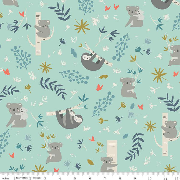 SALE: 'Joey' Koalas & Sloths Mint by Riley Blake