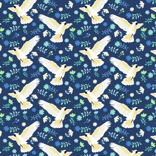 Australiana Soaring: Cockatoo Flying Navy by Amanda Joy Designs