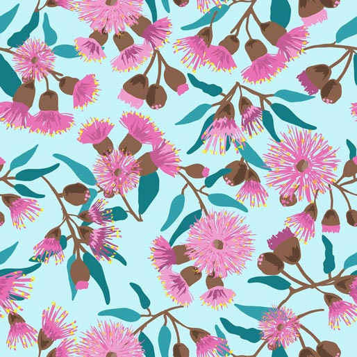 Sweet Botanicals: Pink Flowering Gum - Blue by Annette Winter