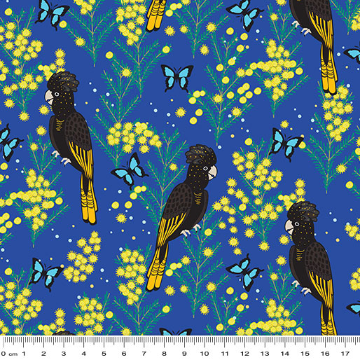NEW Outback Beauty: Yellow Black Tailed Cockatoo Blue by Amanda Brandl for KK Designs