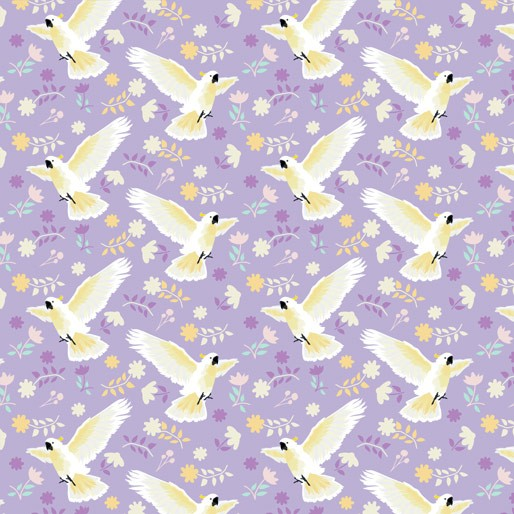 Australiana Soaring: Cockatoo Flying Purple by Amanda Joy Designs