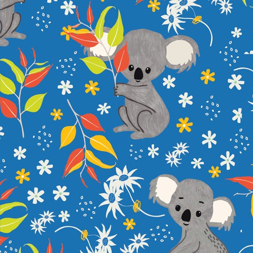 Koala Capers: Koala Calypso Blue  by Amanda Brandl for KK Designs