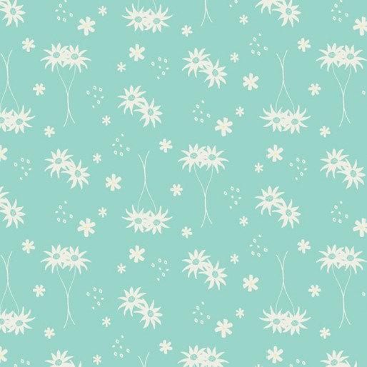 Koala Capers: Little Flannel Turquoise by Amanda Brandl for KK Designs