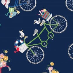 NEW: Vintage Boardwalk: Bicycles Navy by Maywood Studio
