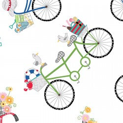 NEW: Vintage Boardwalk: Bicycles White by Maywood Studio