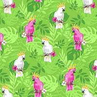 Cockatoo Blossoms - Lime Green by Northcott Fabrics