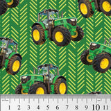 Farm Machines: Tractor Toss Patterned Green by KK Designs